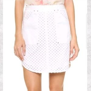 Rebecca Taylor White Jean Skirt Punched Denim 4